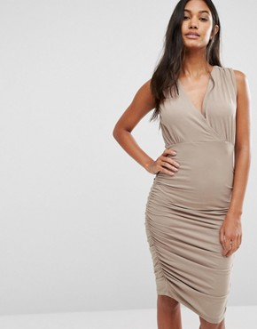 photo Day Ruched Sleeveless Dress by Supertrash, color Beige - Image 1
