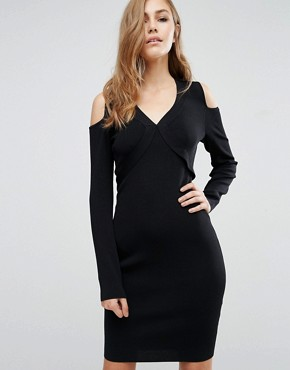 photo Damara Open Shoulder Bodycon Dress by Supertrash, color Black - Image 1