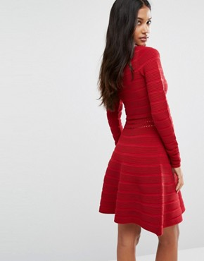 photo Darles Ribbed Skater Skirt Bodycon Dress by Supertrash, color Red - Image 2