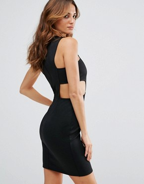 photo Cut Out Waist Bodycon Dress by Twin Sister, color Black - Image 2
