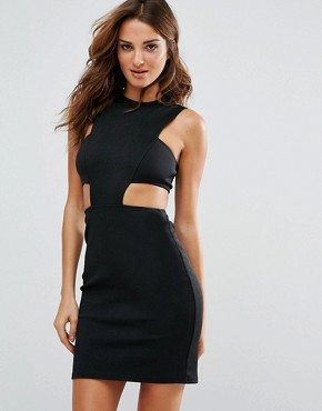 photo Cut Out Waist Bodycon Dress by Twin Sister, color Black - Image 1