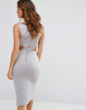 photo V Cut Out Bodycon Dress by Twin Sister, color Grey - Image 2