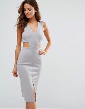 photo V Cut Out Bodycon Dress by Twin Sister, color Grey - Image 1