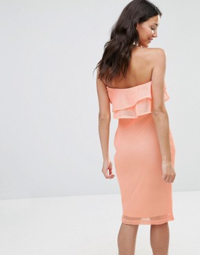 photo India Bandeau Frill Mesh Bodycon Midi Dress by Girl In Mind, color Peach - Image 2