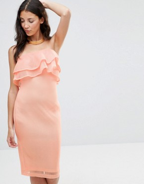 photo India Bandeau Frill Mesh Bodycon Midi Dress by Girl In Mind, color Peach - Image 1