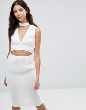 photo Liana Mesh Cut Out Choker Dress by Girl In Mind, color White - Image 1