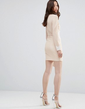 photo Flo Long Sleeve Zip Detail Mini Dress by Girl In Mind, color Nude - Image 2