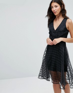 photo Alice Grid Mesh Flare Dress by Girl In Mind, color Black - Image 1