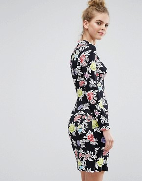 photo Rose Repeat Jersey Dress by House of Holland, color Black - Image 2