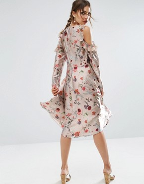 photo Cold Shoulder Midi Dress With Pleated Ruffle in Swan Print by ASOS, color  - Image 2