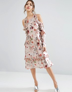 photo Cold Shoulder Midi Dress With Pleated Ruffle in Swan Print by ASOS, color  - Image 1