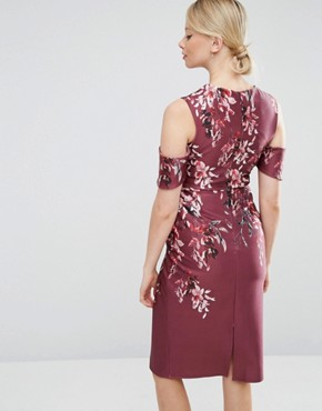 photo Placement Print Cold Shoulder Midi Dress by Hope & Ivy Maternity, color Red - Image 2