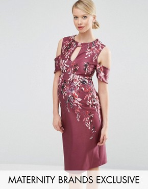 photo Placement Print Cold Shoulder Midi Dress by Hope & Ivy Maternity, color Red - Image 1