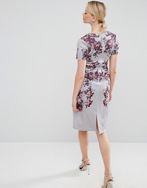 photo Floral Mirror Print Bodycon Midi Dress by Hope & Ivy Maternity, color Grey - Image 2