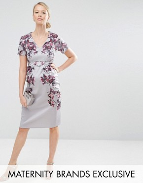 photo Floral Mirror Print Bodycon Midi Dress by Hope & Ivy Maternity, color Grey - Image 1