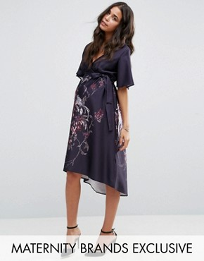 e72825994847 Printed Flutter Sleeve Hi Lo Midi Dress by Hope & Ivy Maternity - Purple