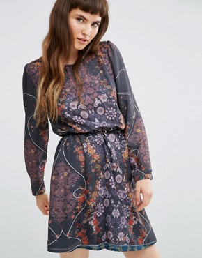 photo Sheer Long Sleeve Dark Floral Dress with Belt by Lavand, color Grey - Image 1