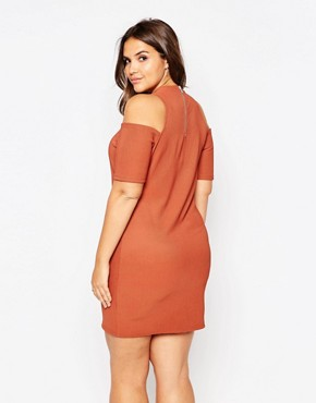 photo Cold Shoulder Bodycon Dress by Alice & You, color Rust - Image 2