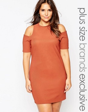 photo Cold Shoulder Bodycon Dress by Alice & You, color Rust - Image 1