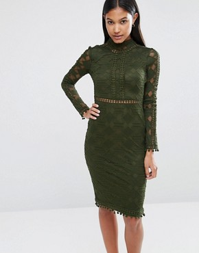 photo High Neck Lace Bodycon Dress with Open Back by Rare London, color Khaki - Image 2