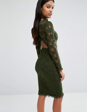 photo High Neck Lace Bodycon Dress with Open Back by Rare London, color Khaki - Image 1