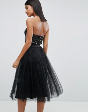 photo Sweetheart Tulle Midi Dress with Sequin Bodice by Rare London, color Black - Image 2