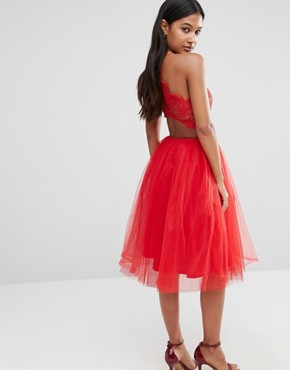 photo Tulle Midi Dress with Scallop Lace Bodice by Rare London, color Red - Image 2
