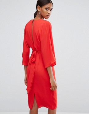 photo 70s Deep Plunge Belted Midi Dress by ASOS TALL, color Red - Image 2