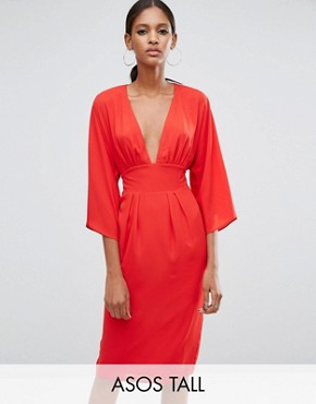 photo 70s Deep Plunge Belted Midi Dress by ASOS TALL, color Red - Image 1