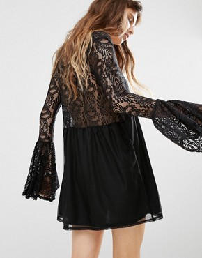photo Lace Insert Smock Dress by Rokoko, color Black - Image 2