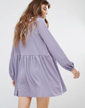 photo Tie Front Smock Dress with Frill Detail by Rokoko, color Dusty Lilac - Image 2