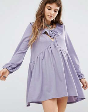 photo Tie Front Smock Dress with Frill Detail by Rokoko, color Dusty Lilac - Image 1