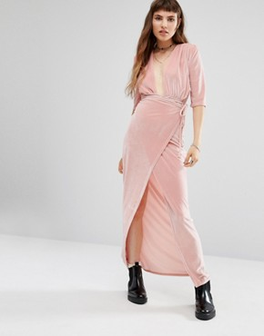 photo Wrap Front Dresser Maxi Dress by Rokoko, color Dusty Pink - Image 1