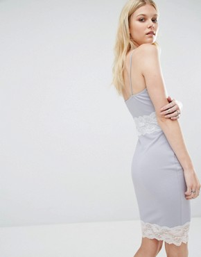 photo Contrast Lace Slip Dress by Missguided Petite, color Grey - Image 2