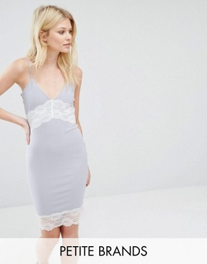 photo Contrast Lace Slip Dress by Missguided Petite, color Grey - Image 1