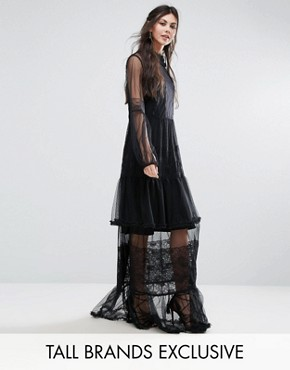 photo Lace Crochet Full Prom Maxi Dress by White Cove Tall, color Black - Image 1