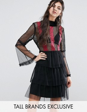 photo Contrast Lace Panel Mini Skater Dress with Fluted Sleeves by White Cove Tall, color  - Image 1