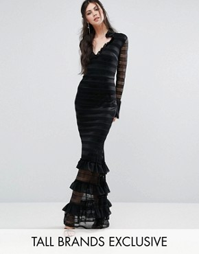 photo Premium Plunge Layered Maxi Dress with Fluted Sleeves by White Cove Tall, color Black - Image 1