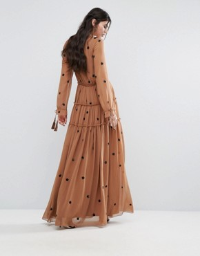 photo Star Embellished Maxi Dress with Tassel Sleeve by White Cove Tall, color Copper - Image 2