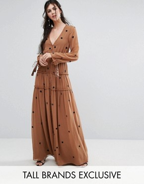 photo Star Embellished Maxi Dress with Tassel Sleeve by White Cove Tall, color Copper - Image 1