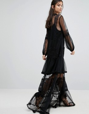 photo Lace Crochet Full Prom Maxi Dress with Bell Sleeves by White Cove Petite, color Black - Image 2