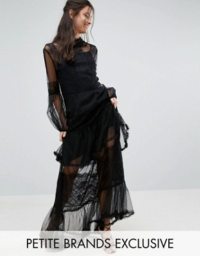 photo Lace Crochet Full Prom Maxi Dress with Bell Sleeves by White Cove Petite, color Black - Image 1