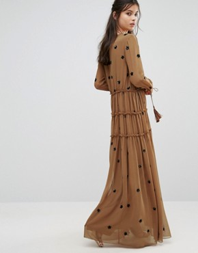photo Star Embellished Maxi Dress with Tassel Sleeve by White Cove Petite, color Copper - Image 2