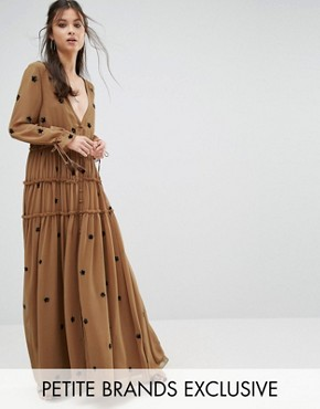 photo Star Embellished Maxi Dress with Tassel Sleeve by White Cove Petite, color Copper - Image 1