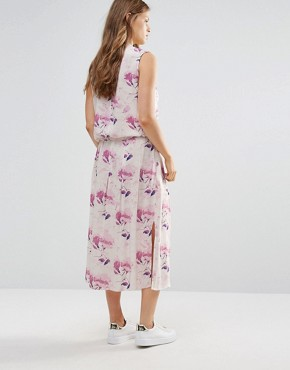 photo Moves Freig Maxi Dress with Tie Waist by Minimum, color Mandarin Pink - Image 2