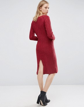 photo Long Sleeve Knitted Dress by Love & Other Things, color Red Wine - Image 2
