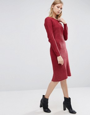 photo Long Sleeve Knitted Dress by Love & Other Things, color Red Wine - Image 1