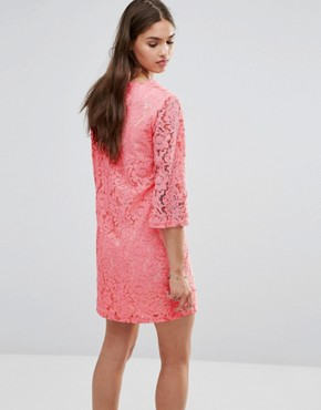 photo 3/4 Sleeve Lace Shift Dress by Darling, color Bright Pink - Image 2