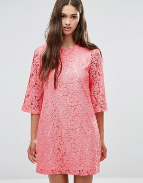 photo 3/4 Sleeve Lace Shift Dress by Darling, color Bright Pink - Image 1