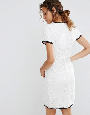 photo Textured Shift Dress with Contrast Trim by Darling, color Cream/Black - Image 2
